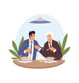 people in suits eating and talking at business vector image vector image