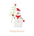 Postcard Snowman with Christmas tree vector image vector image