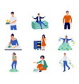rich and poor people cartoon characters saving vector image