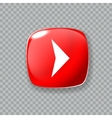 Right arrow icon Glossy red button vector image