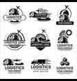 set logistics logos design vector image vector image