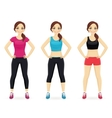 Set of young woman in different sportswear vector image vector image