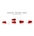 set opened heart shape gifts box valentines vector image