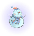 snowman in orange hat and scarf singing a song vector image vector image