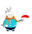 Snowman with red hat and orange scarf vector image vector image