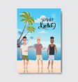 summer vacation man relax landscape beach badge vector image vector image