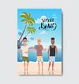 summer vacation man relax landscape beach badge vector image