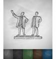 Sung and Kim Jong icon Hand drawn vector image vector image