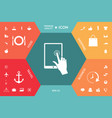 touch screen tablet with click hand vector image vector image