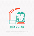 train station thin line icon vector image vector image