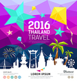 Travel Thailand new year with silhouette landmark vector image vector image