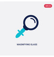 two color magnifying glass icon from education 2 vector image vector image