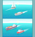 water transport ferry and sailing boat vector image vector image