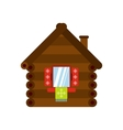 Wooden house icon flat style vector image