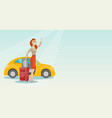 young caucasian woman waving in front of car vector image vector image