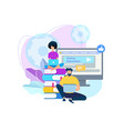 young people stydying together online courses vector image vector image