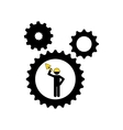 man worker construction gears shovel icon vector image