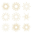 Set of vintage handdrawn sunbursts vector image