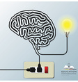 Brain Shape Electricline Education Infographic vector image