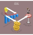 A way to the goal isometric flat vector image vector image