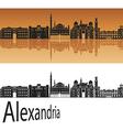 Alexandria skyline in orange vector image vector image