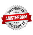Amsterdam 3d silver badge with red ribbon vector image vector image