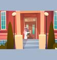 arab boy opening school door muslim pupil go to vector image vector image