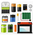 battery pile of power alkaline batteries vector image