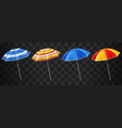 beach umbrellas set isolated on black background vector image