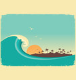 big ocean wave and tropical islandvintage poster vector image vector image