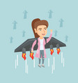 business woman flying on the rocket to success vector image vector image
