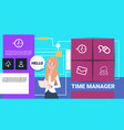 businesswoman with tablet time manager shedule vector image