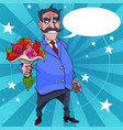 cartoon man with a mustache wishes with flowers vector image vector image