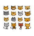 cat faces sketch for your design vector image