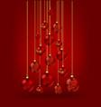 christmas tree made christmas balls on red vector image vector image