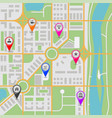 city map with popular location markers vector image vector image