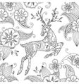 Coloring page with beautiful running deer and vector image vector image