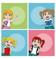 cute school girls vector image vector image