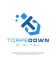 digital torpedo logo for technology companies vector image vector image