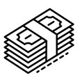 dollar money stack icon outline style vector image