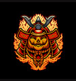 halloween pumpkins japanese mask samurai armor vector image vector image