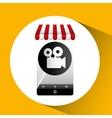 hand holding e-shopping movie design vector image