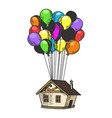 house flying on balloons color sketch engraving vector image vector image