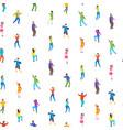isometric dancing people characters seamless vector image vector image