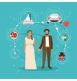 Just married couple with wedding attributes vector image