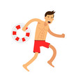 lfeguard man character running with lifebuoy vector image