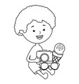 little boy with ice cream and camera photographic vector image