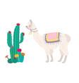 llama and cactus vector image