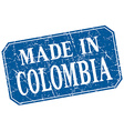 made in Colombia blue square grunge stamp vector image vector image