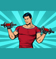 man with dumbbells healthy lifestyle vector image vector image